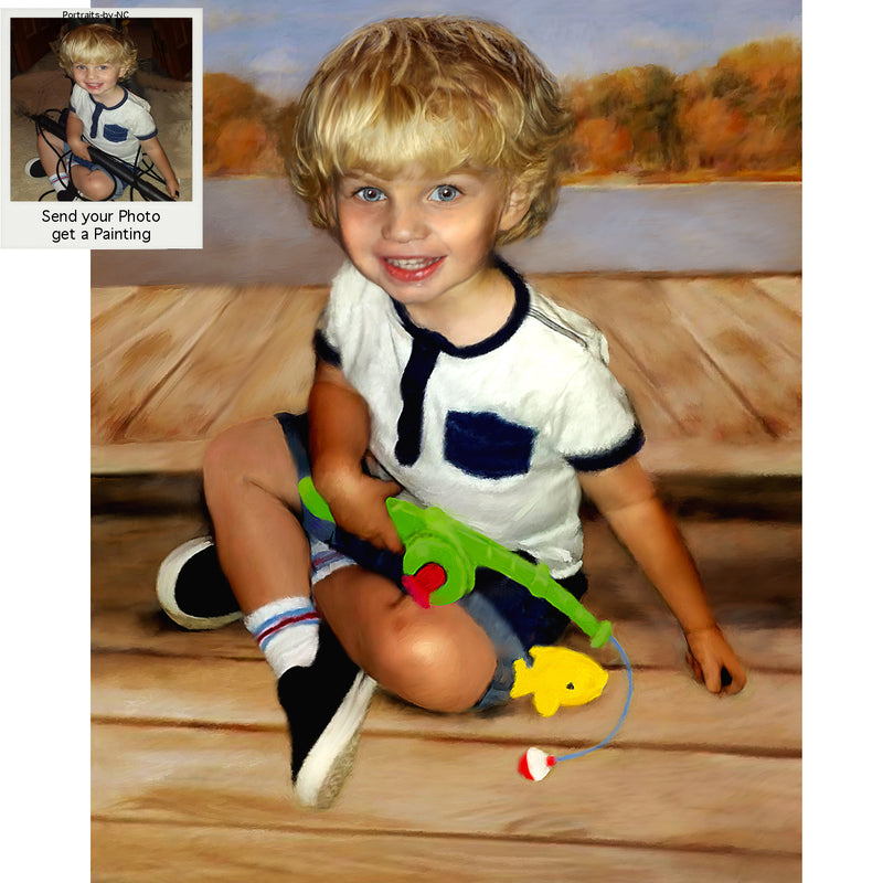 Toddler Oil Portrait -  Boy with Fishing Pole
