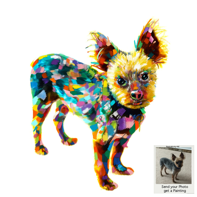 Colorful Abstract Yorkie Painting