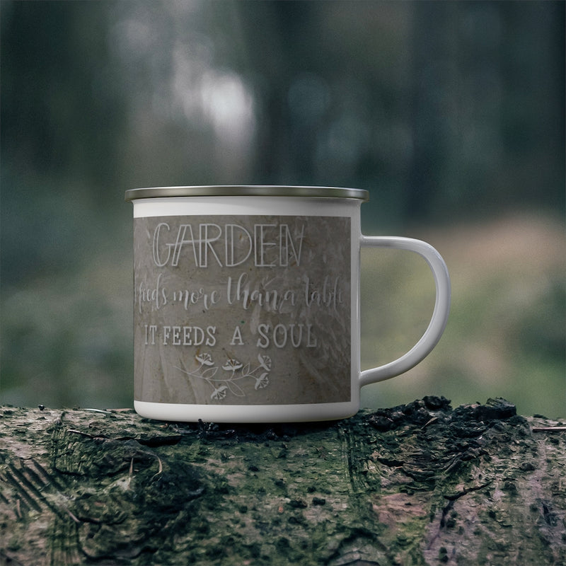 Enamel Camping Mug with Gardening Quote - Gifts for Gardeners