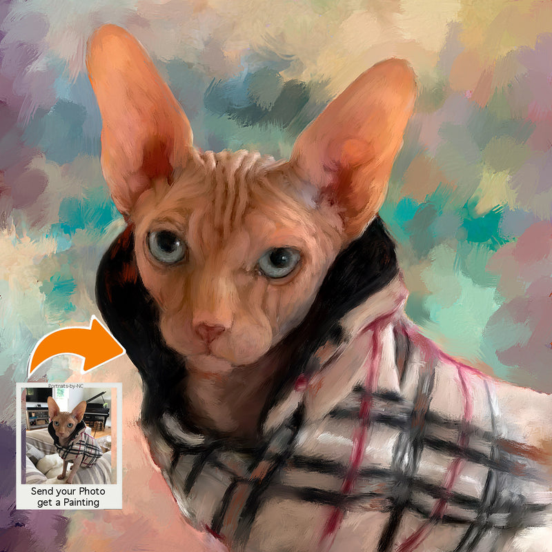 Sphinx Cat Digital Portrait