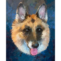 German Shepherd Face Portrait