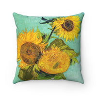 Van Gogh Three Sunflowers - Spun Polyester Square Pillow