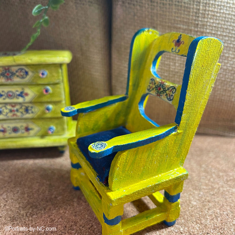 Miniature Dollhouse Chair - Painted and Decoupaged Shabby Chic Decor