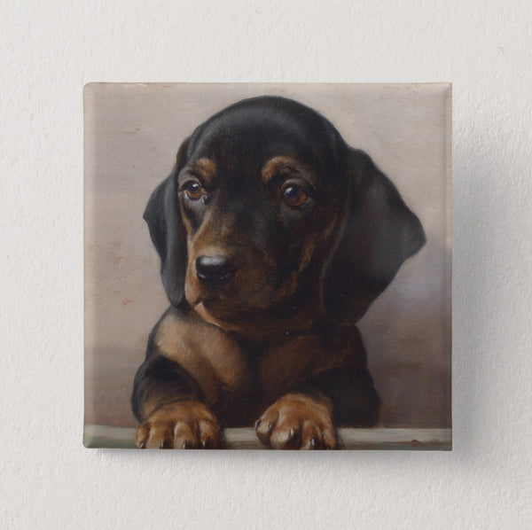 Dachshund Button Square