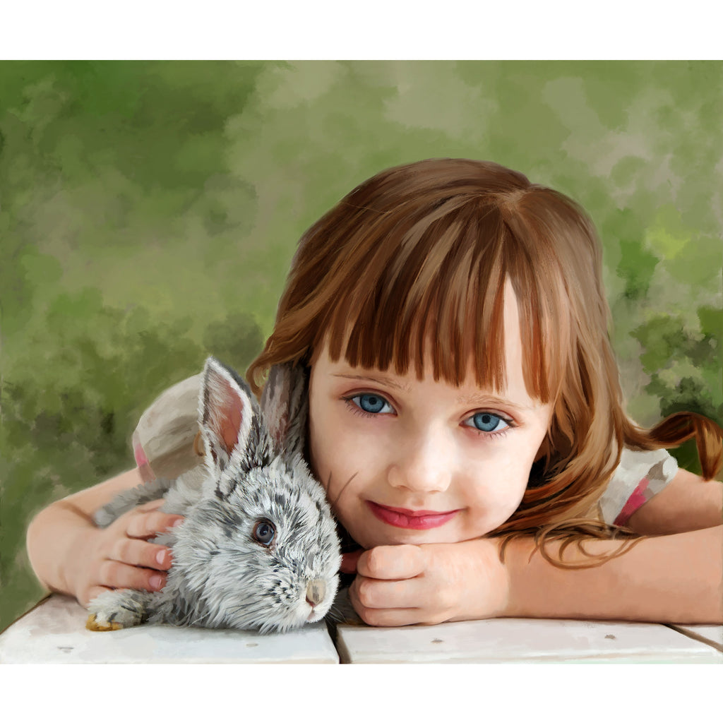 Child Painting with Pet
