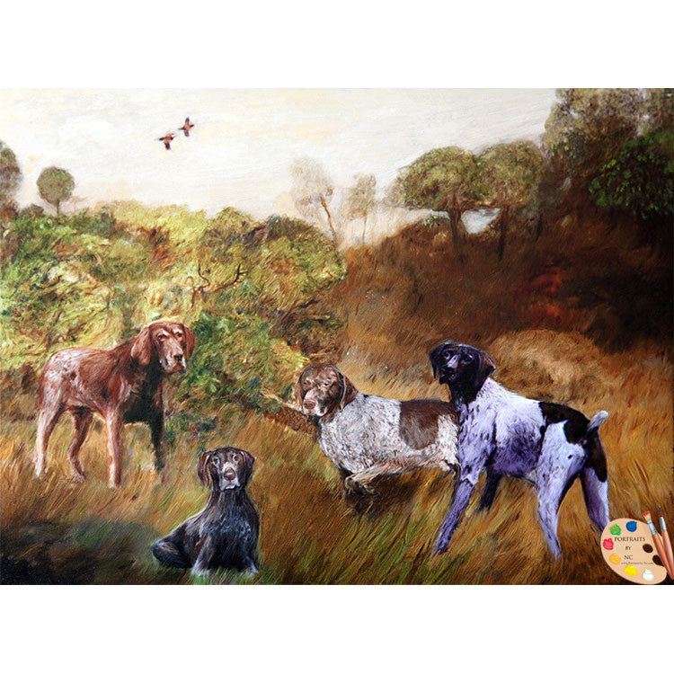 Group Dog Painting Hunting Dogs 355