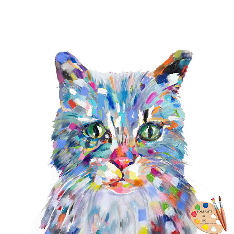 Modern Cat Painting 332 - Portraits by NC