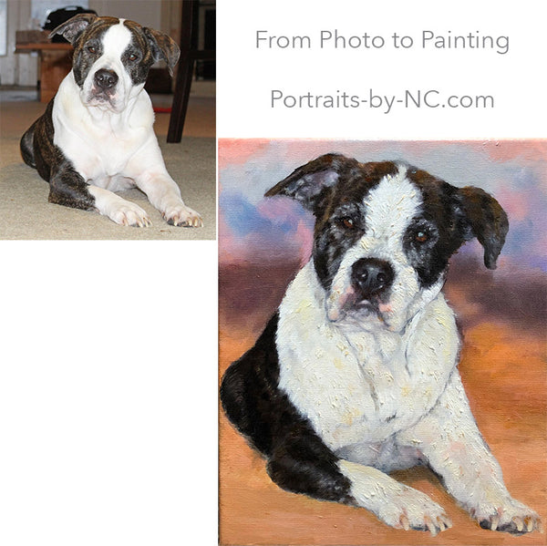 Custom painted pit bull portrait