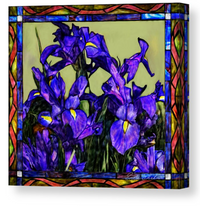 Tiffany Style Blue Iris - Canvas Print 261