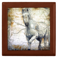 Keepsake Box - Horse Tile - Golden Oak
