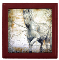 Keepsake Box - Horse - Mahogany - Tile Top