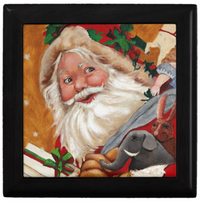 Keepsake Box - Jolly Santa - Black Lacquer - Tile Top