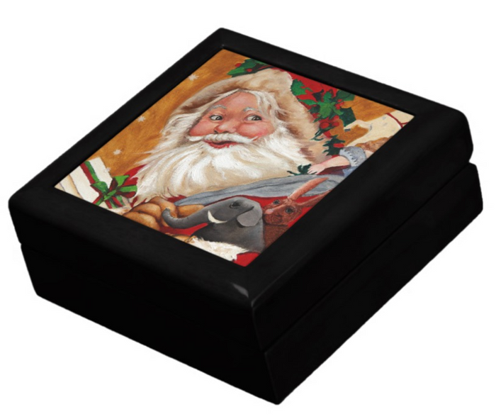 Keepsake Box - Jolly Santa - Black Lacquer