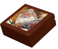 Keepsake Box - Jolly Santa - Golden Oak Lacquer