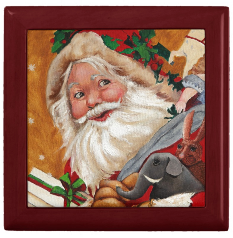 Keepsake Box - Jolly Santa - Mahogany Lacquer