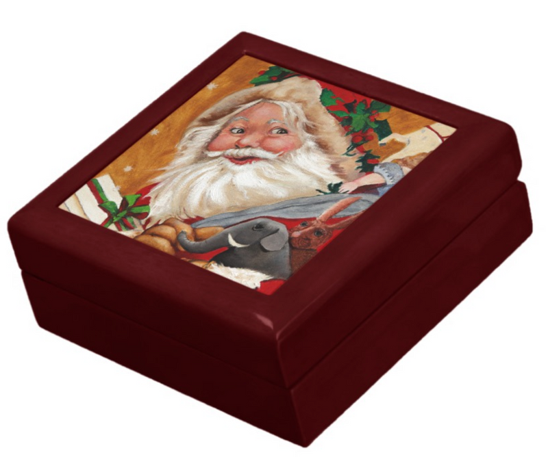 Keepsake Box - Jolly Santa - Mahogany Lacquer Box