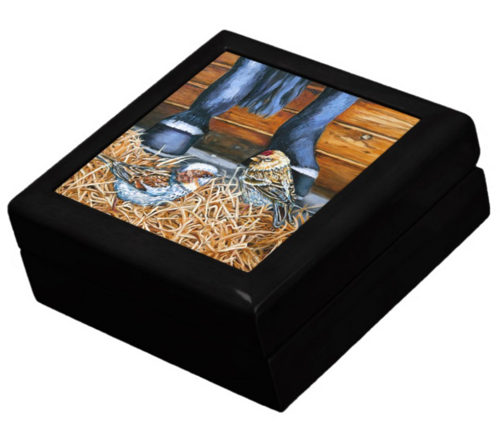 Keepsake/Jewelry Box - Sparrows - Black Lacquer Box