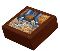 Keepsake/Jewelry Box - Sparrows - Golden Oak Lacquer Box