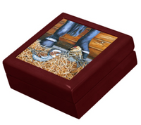 Keepsake/Jewelry Box - Sparrows - Mahogany Lacquer Box