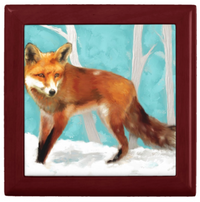 Keepsake/Jewelry Box - Red Fox - Mahogany Box