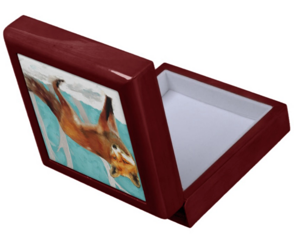 Keepsake/Jewelry Box - Red Fox - Mahogany Lacquer Box - Felt Lined