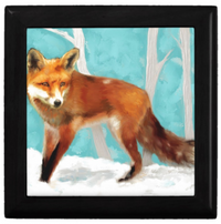 Keepsake/Jewelry Box - Red Fox - Black Box