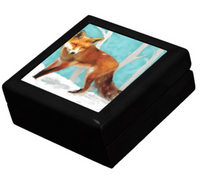Keepsake/Jewelry Box - Red Fox - Black Lacquer Box