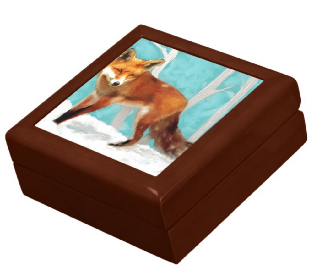 Keepsake/Jewelry Box - Red Fox - Golden Oak Lacquer Box