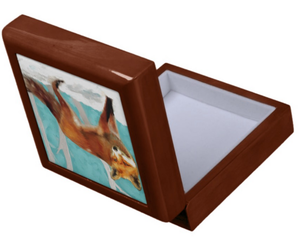 Keepsake/Jewelry Box - Red Fox - Golden Oak Lacquer Box - Felt Lined