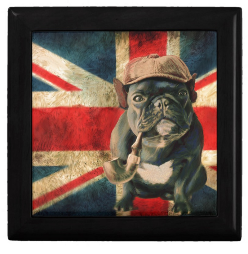 Keepsake/Jewelry Box - French Bulldog with Pipe - Lacquer Box