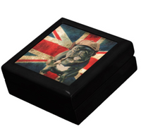Keepsake/Jewelry Box - French Bulldog with Pipe - Lacquer Box Black