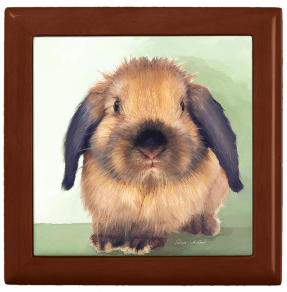 Keepsake/Jewelry Box - Holland Lop Rabbit - Lacquer Box Golden Oak Wood