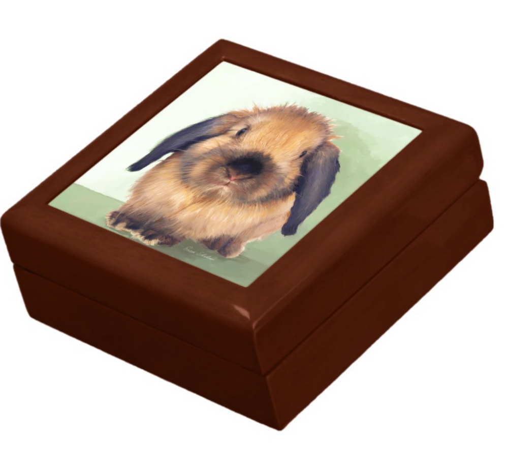 Keepsake/Jewelry Box - Holland Lop Rabbit - Lacquer Box Golden Oak