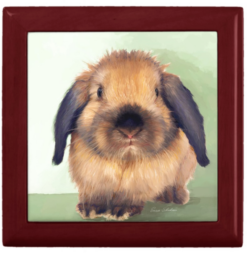Keepsake/Jewelry Box - Holland Lop Rabbit - Lacquer Box Mahogany Wood