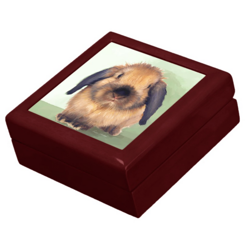 Keepsake/Jewelry Box - Holland Lop Rabbit - Lacquer Box Mahogany