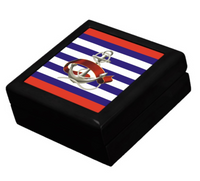 Keepsake/Jewelry Box - Nautical Anchor Design - Black Lacquer Box