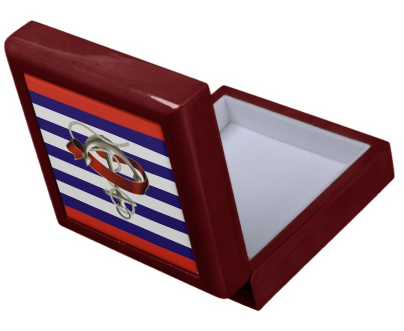 Keepsake/Jewelry Box - Nautical Anchor Design - Mahogany Lacquer Box Felt Lined