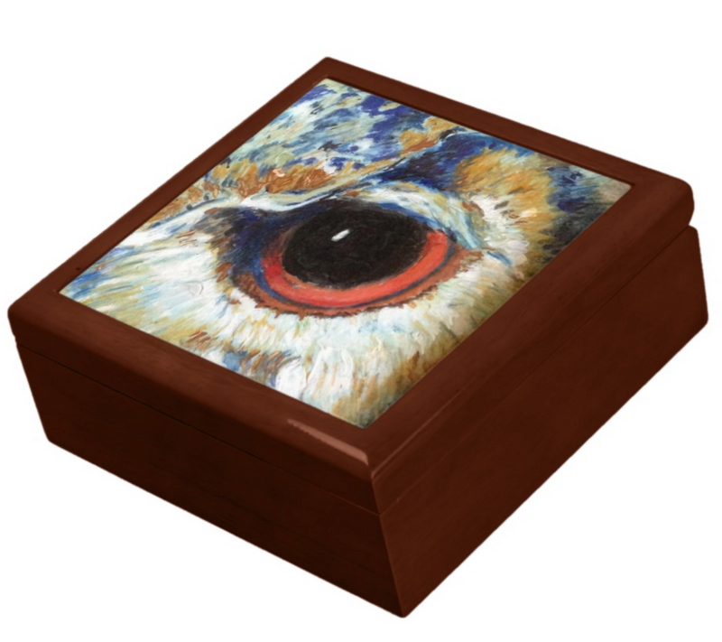 Keepsake/Jewelry Box - Owl Eye - Golden Oak Box