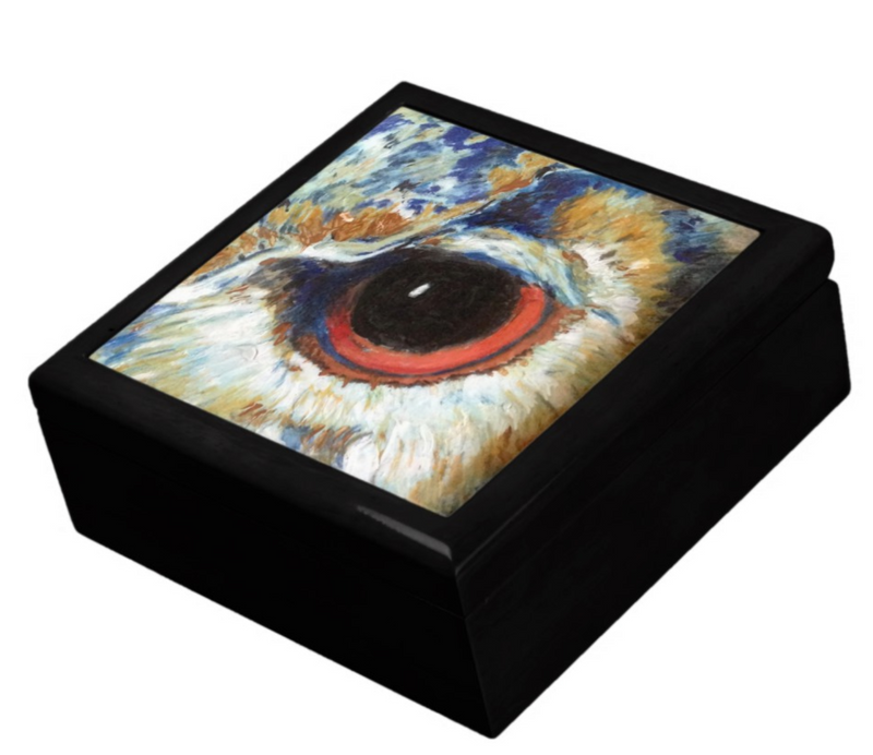 Keepsake/Jewelry Box - Owl Eye - Black Box