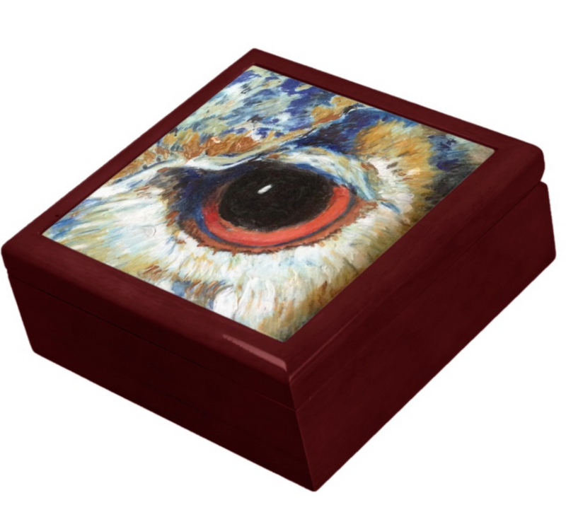 Keepsake/Jewelry Box - Owl Eye - Mahogany Lacquer Box