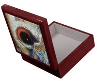 Keepsake/Jewelry Box - Owl Eye - Mahogany Lacquer Box Felt Lined