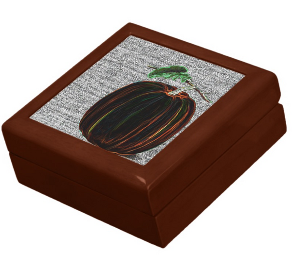 Keepsake Box - Pumpkin - Golden Oak Lacquer Box - Felt lined