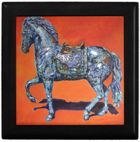 Keepsake/Jewelry Box - Indigo Horse - Black Wood Lacquer Box - Ceramic Lid
