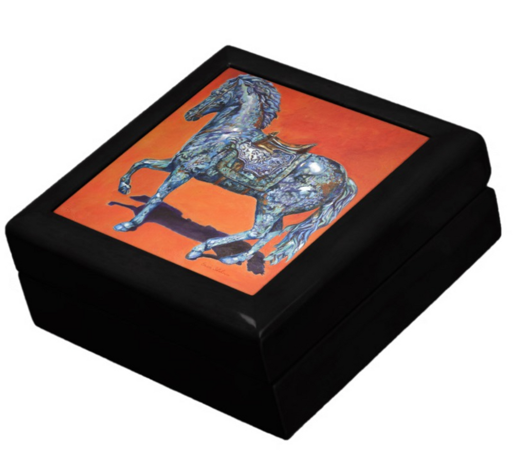 Keepsake/Jewelry Box - Indigo Horse - Black Wood Lacquer Box