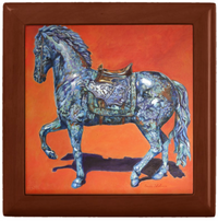 Keepsake/Jewelry Box - Indigo Horse - Golden Oak Wood Lacquer Box - Ceramic Lid Tile