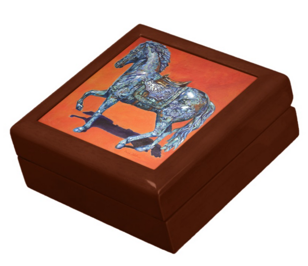 Keepsake/Jewelry Box - Indigo Horse - Golden Oak Wood Lacquer Box