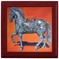 Keepsake/Jewelry Box - Indigo Horse - Mahogany Wood Lacquer Box - Ceramic Lid Tile