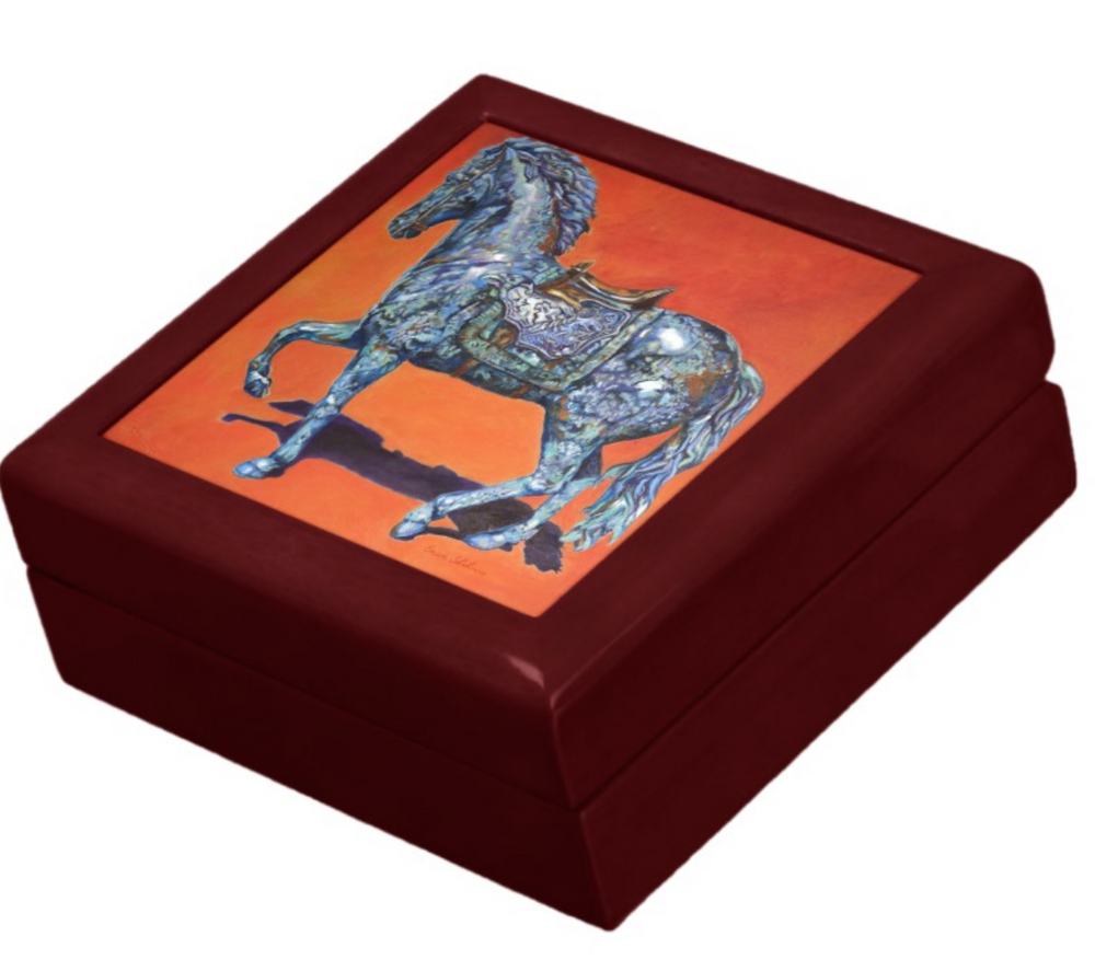 Keepsake/Jewelry Box - Indigo Horse - Mahogany Wood Lacquer Box