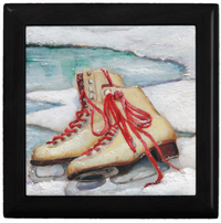 Keepsake/Jewelry Box - Ice Skates - Black Lacquer Box - Ceramic Tile Lid