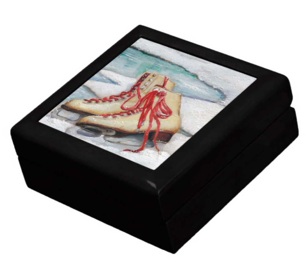 Keepsake/Jewelry Box - Ice Skates - Black Lacquer Box